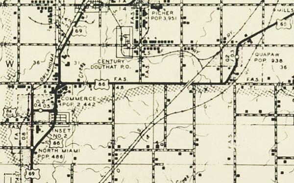 1950s roadmap of Quapaw OK