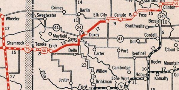 1931 roadmap of western Oklahoma