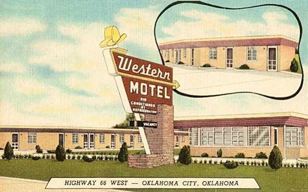 Western Motel vintage postcard in Oklahoma City Route 66