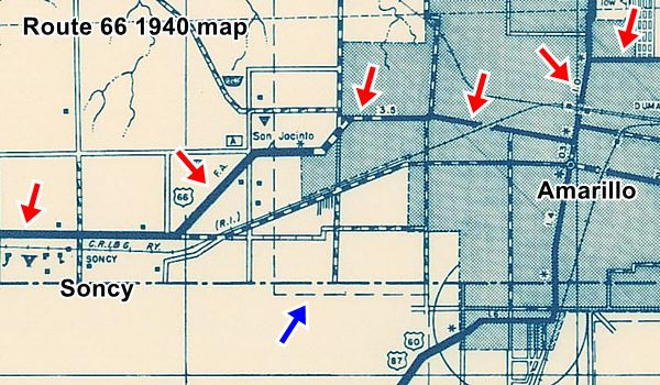 1936 Map of Amarillo and Soncy with higways