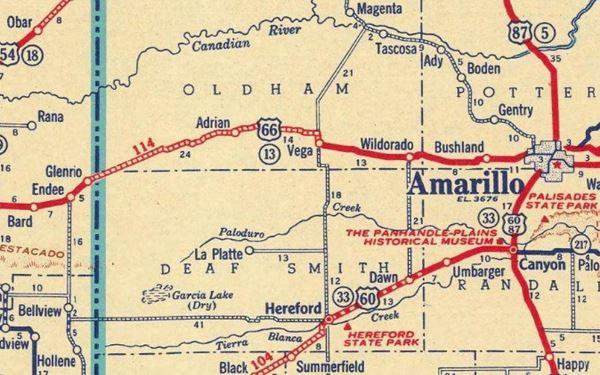 1937 Road Map of Glenrio Texas