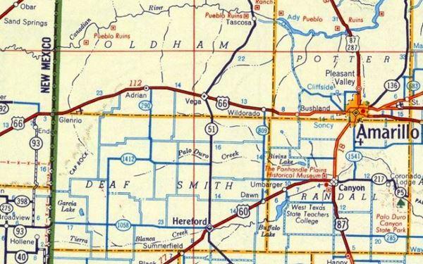 1956 Road Map US66 Texas