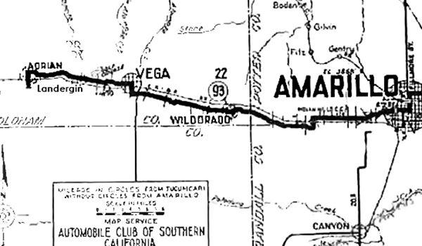 1920 roadmap Adrian to Amarillo