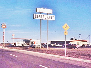 restaurant and gas station 1960s cars