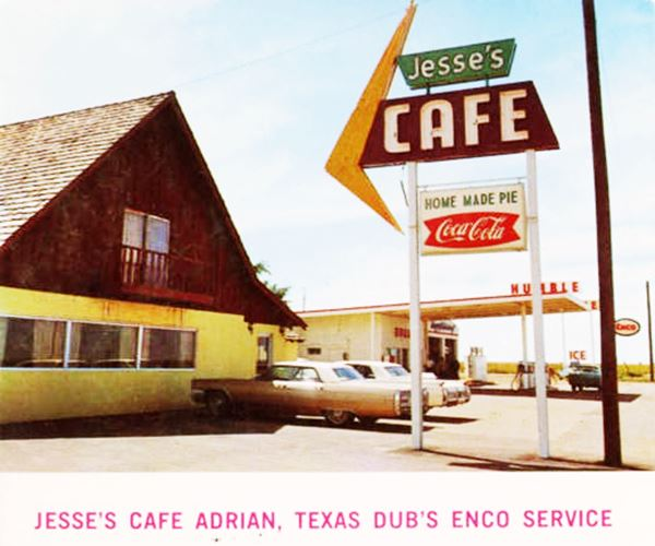 late 1960s color photo of the cafe and gas station on Route 66