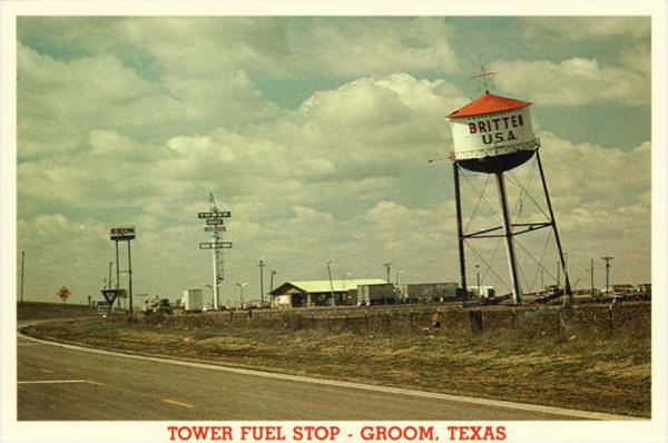 Vintage Post Card of the leaning Water Tower at Groom Texas