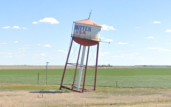 leaning water tower Groom