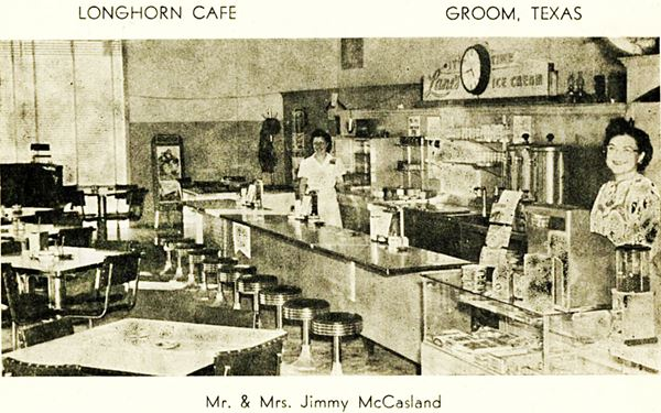 Vintage Post Card of the interior of the Longhorn Cafe in Groom Texas
