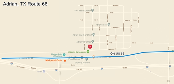 Map of US66 in Adrian TX
