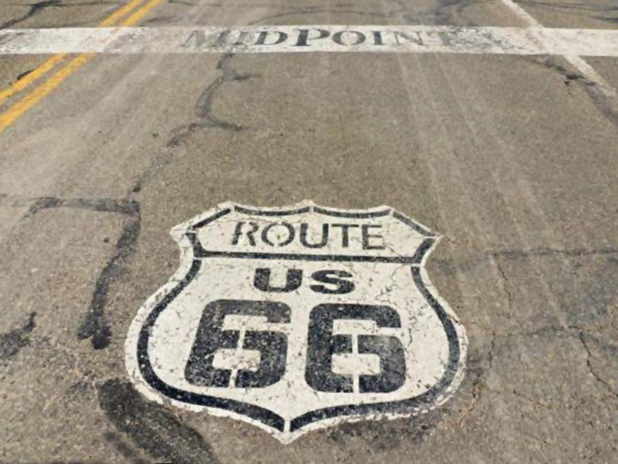 The midpoint of Route 66, shield painted on tarmac