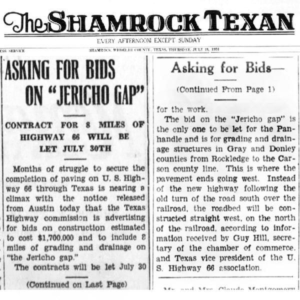 1936 newspaper article about Jericho Gap