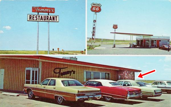 restaurant and gas station late 1960s cars