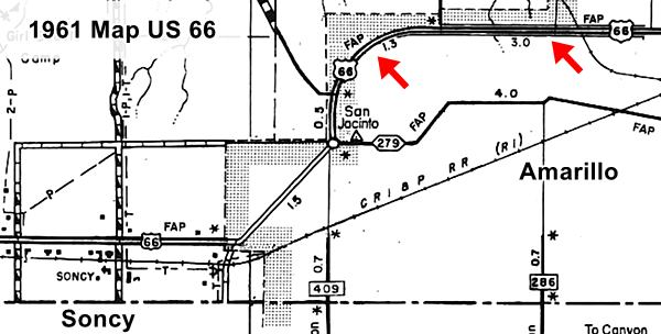 1961 Map of Amarillo and Soncy with higways
