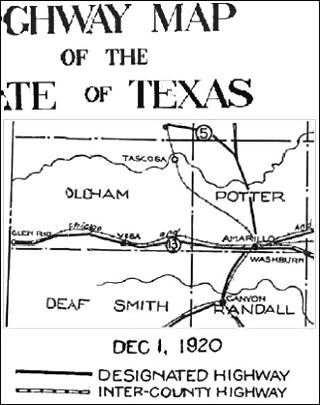 detail of a 1920 Road Map of Texas