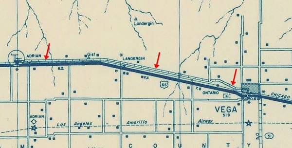 1936 Road Map of Landergin Texas